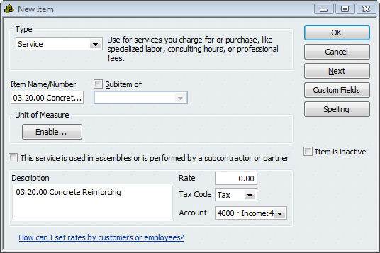 QuickBooks Item showing revenue
