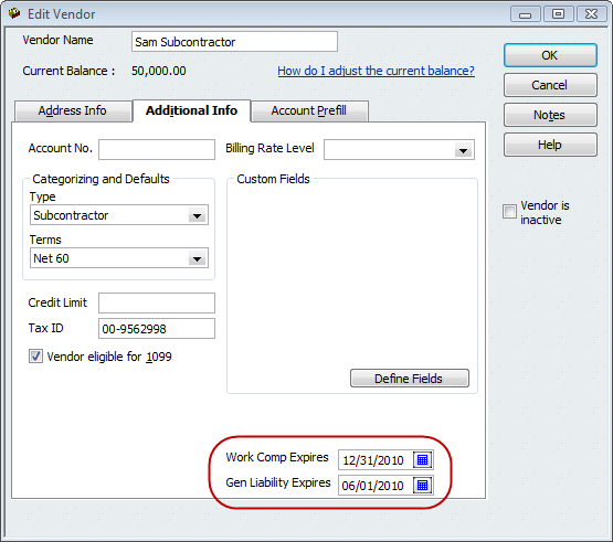 QuickBooks Tip – Construction A/P – Tracking Subcontractor