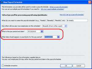 creating a payroll frequency in QuickBooks