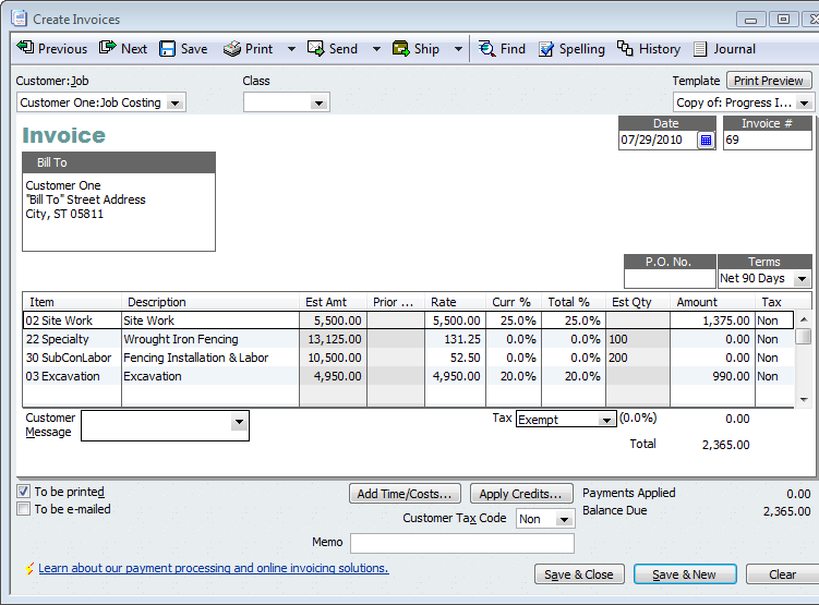 QuickBooks For Contractors TipBasics Of Progress Invoicing - Contract work invoice template