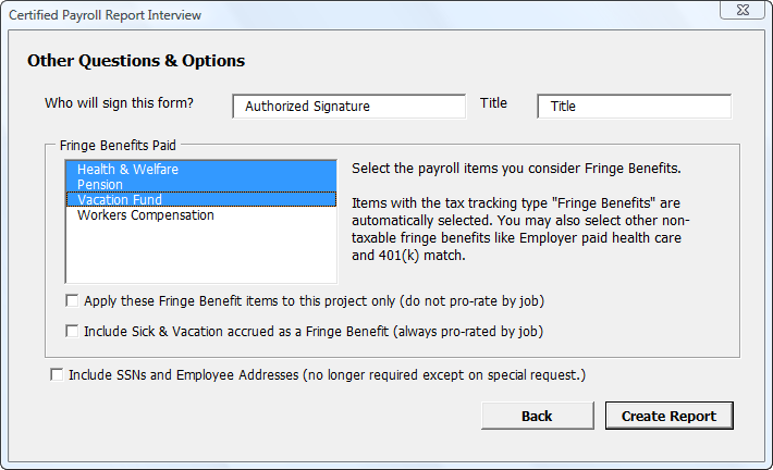 calculating displaying fringe benefits on a certified payroll