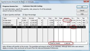 specify amounts to invoice