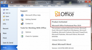 Microsoft Office version