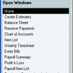 QuickBooks Open Window List
