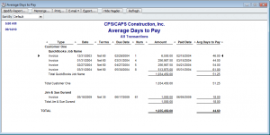 modified average days to pay report