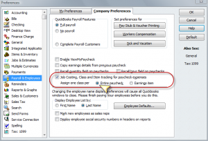 QuickBooks Payroll preferences