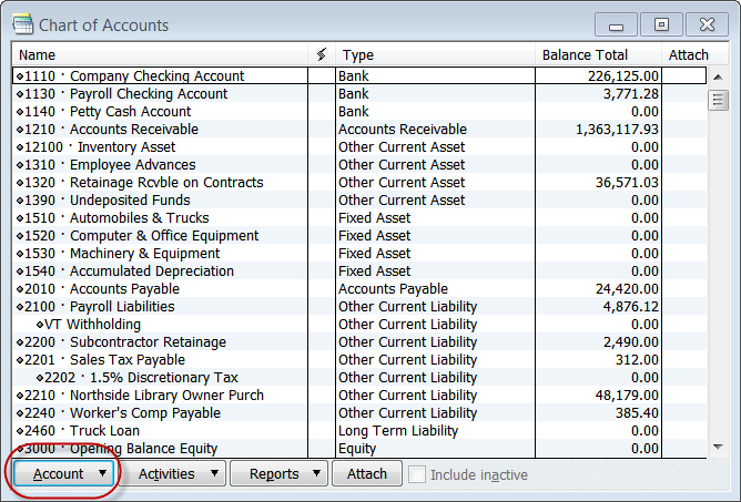chart of accounts for construction company pdf