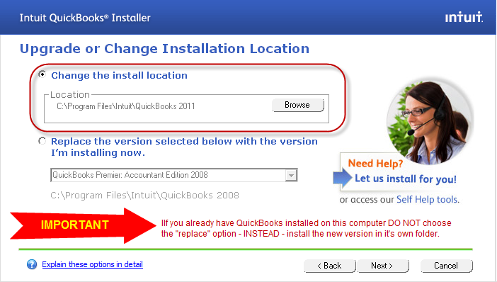 Install QuickBooks 2011 in it's own folder