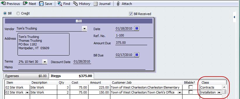 Vendor bill assigned to multiple classes.
