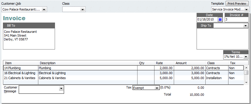 Invoice with multiple classes