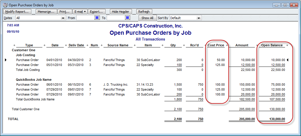 open purchase order by job