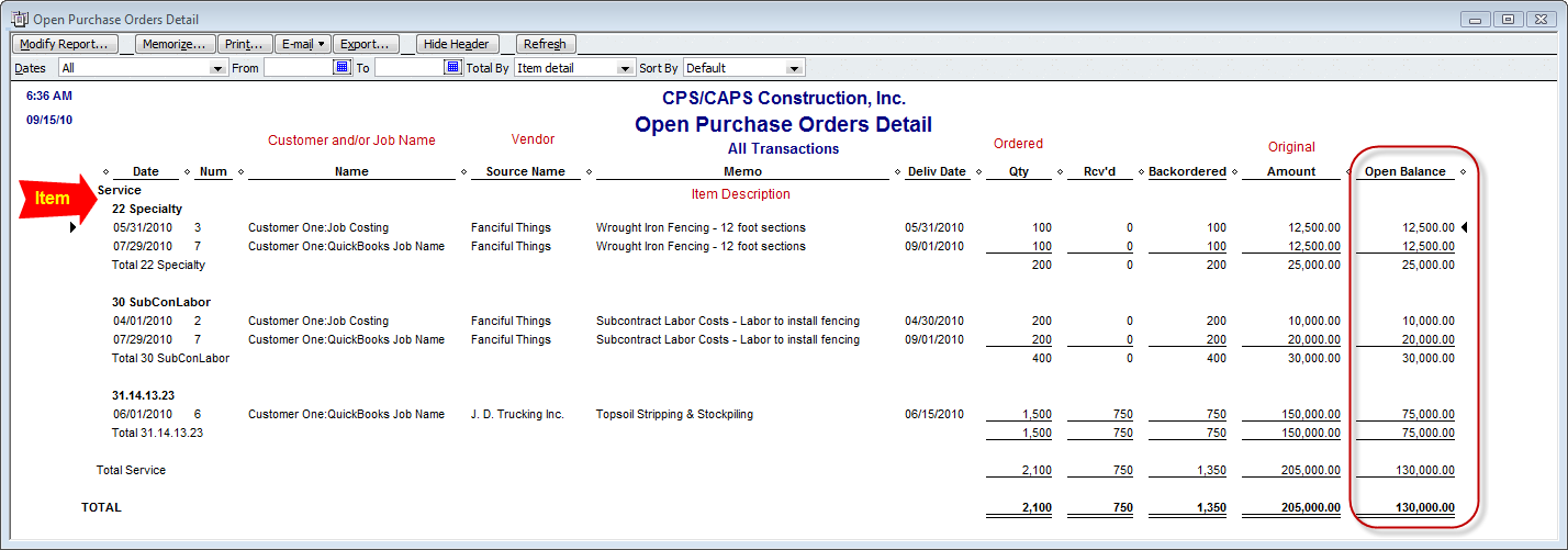 quickbooks open purchase order detail report