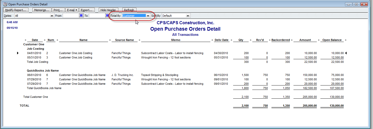 modified open purchase order detail report