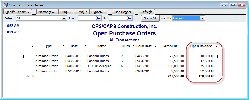 open purchase order report