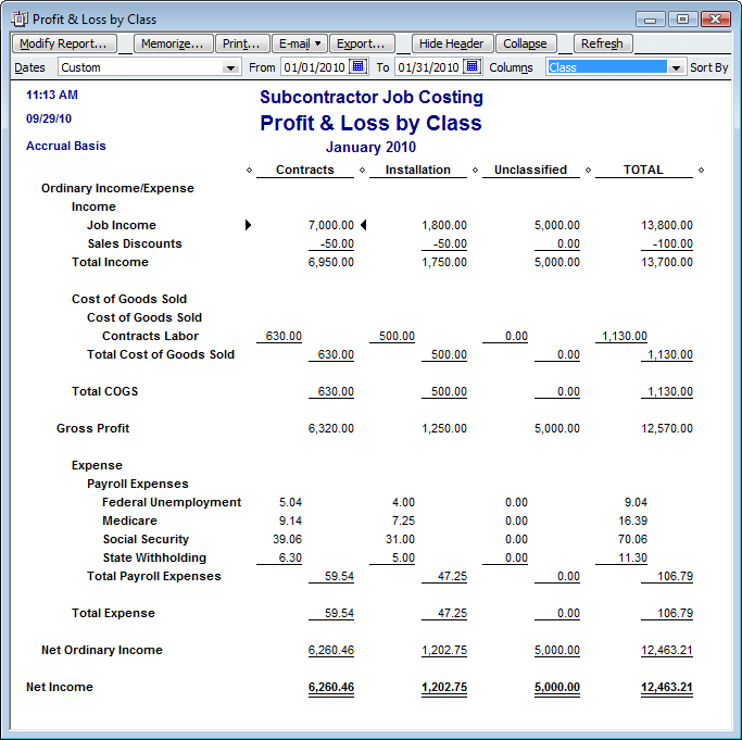 Quickbooks 2011 new balance sheet by class report part for Cost to build report