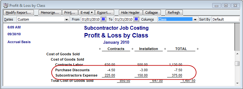 vendor discount displays on profit & loss by class report