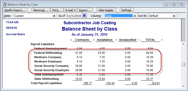 payroll liabilities by class