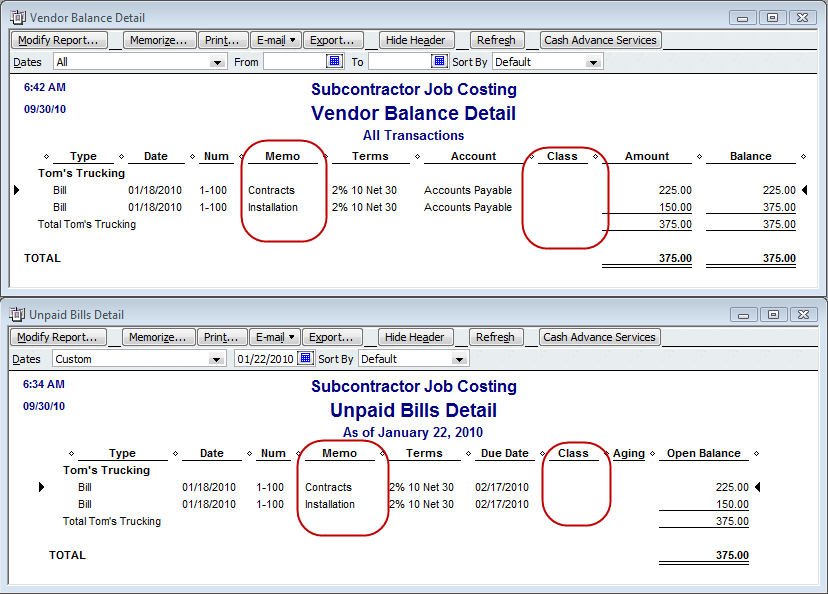 customize vendor reports to include class information