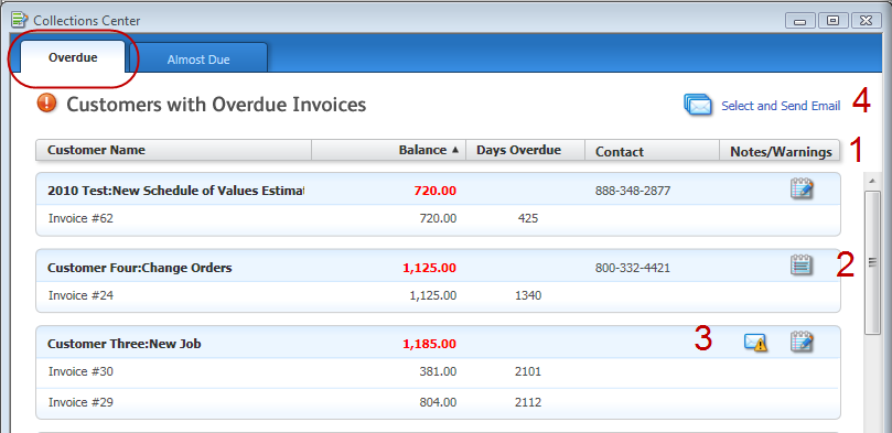 contact customers with overdue balances