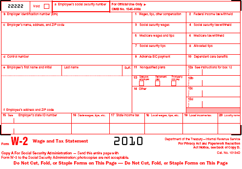 w-2's for 2010