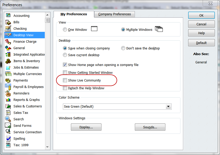 QuickBooks 2011 turning off Live Community