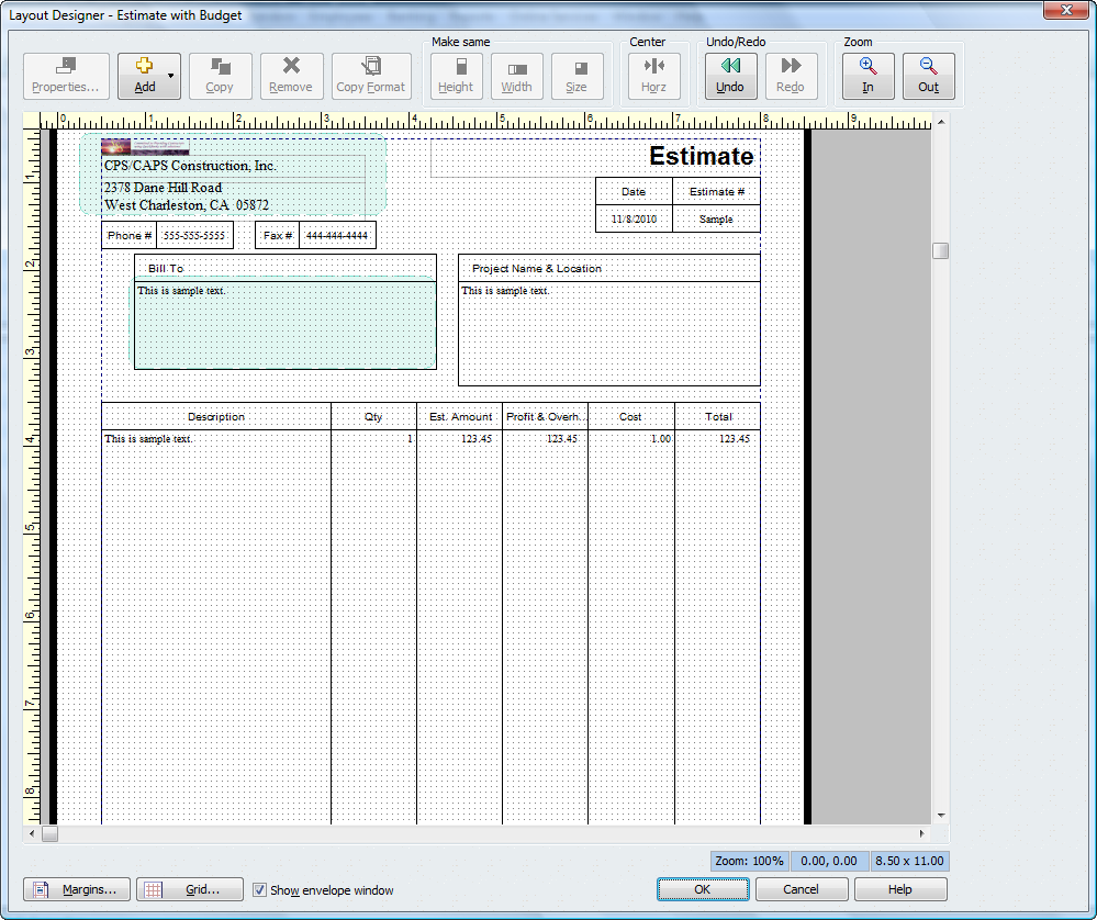 Layout designer quickbooks for contractors blog for Online construction cost estimator