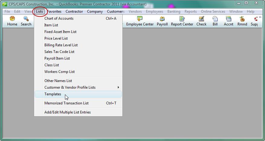 Lists menu - Templates