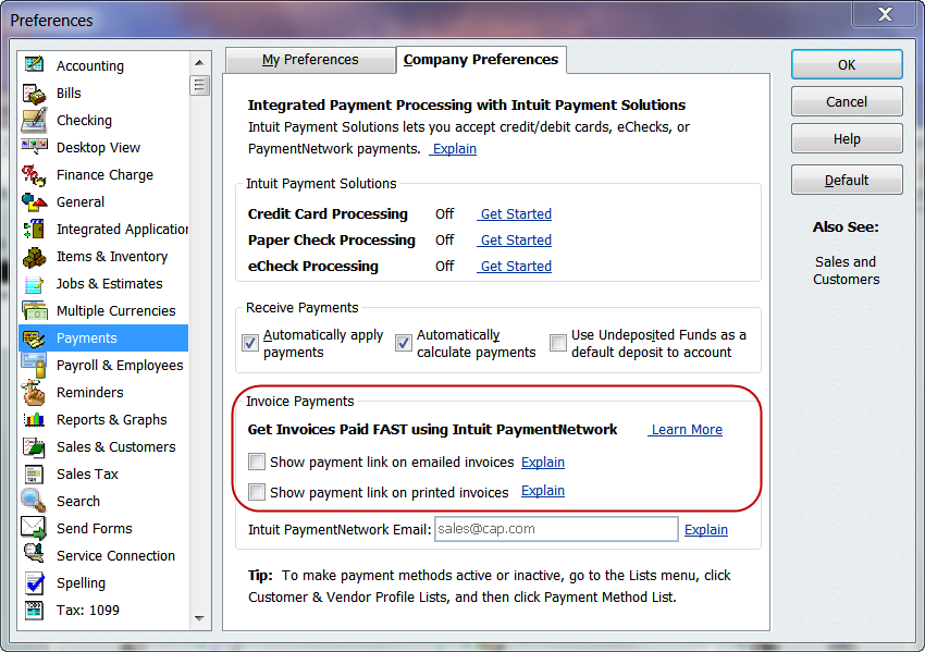 turning off Intuit PaymentNetwork links