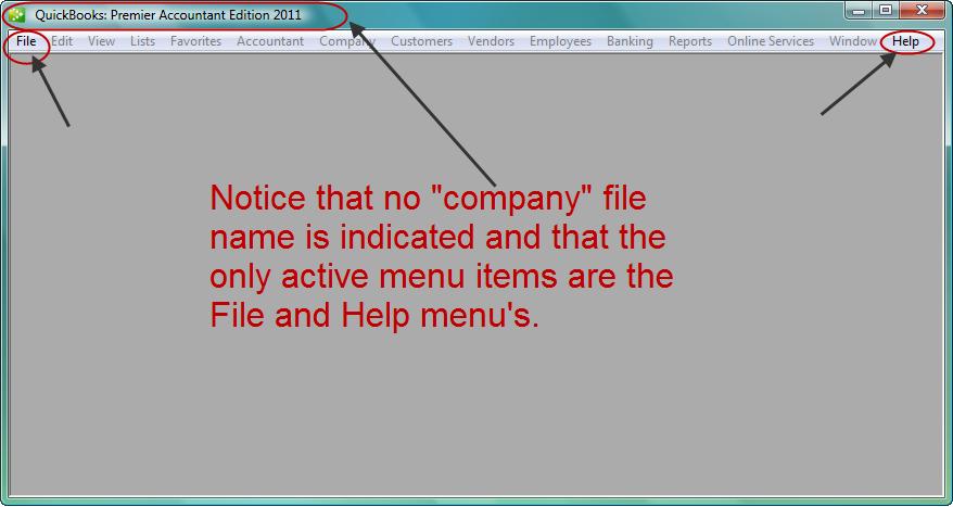 no company file loaded