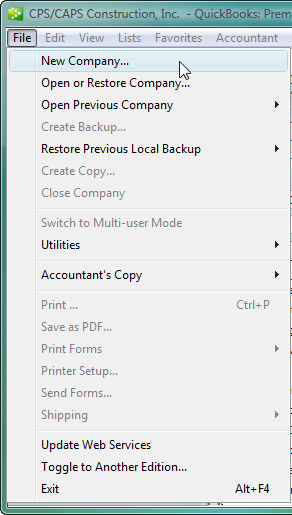 create a new QuickBooks file