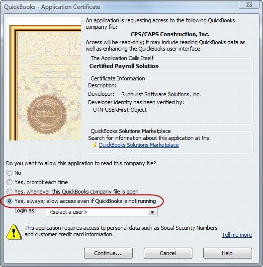 QuickBooks Application Certificate window