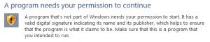 A program needs your permission to continue