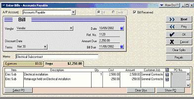 Retainage Payable using Items