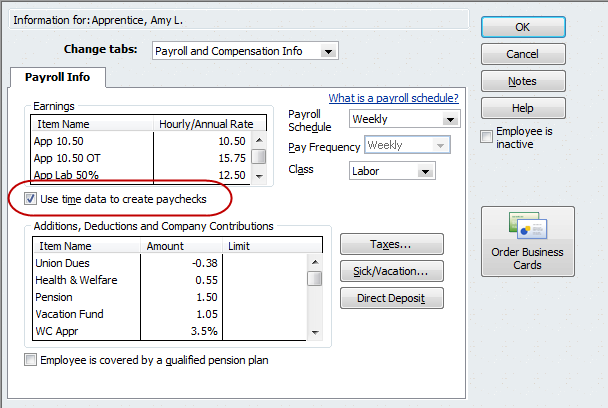 How to set up timetracking quickbooks tip quickbooks for use time data to create paychecks fandeluxe Image collections
