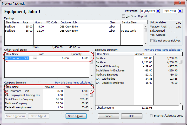 Quickbooks payroll tip setting up general liability insurance