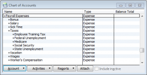 a more detailed payroll expenses chart of accounts