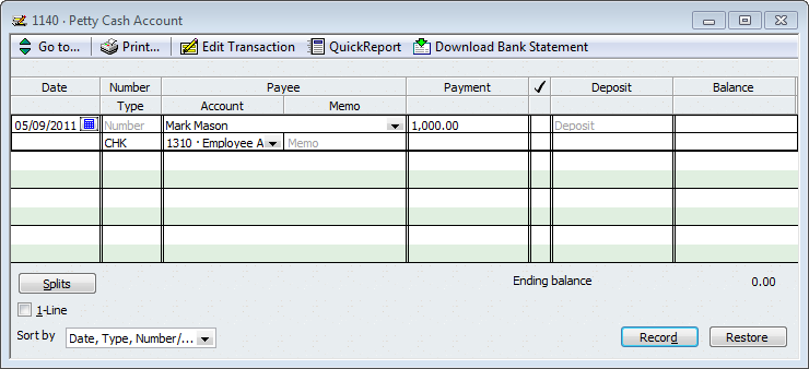 Quickbooks payroll tip tracking employee advances or for Cash advance policy template