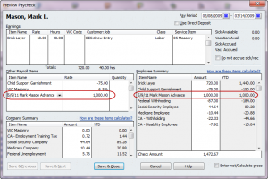 recording a payroll advance with a paycheck
