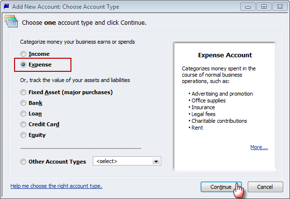 create new expense sub-accounts