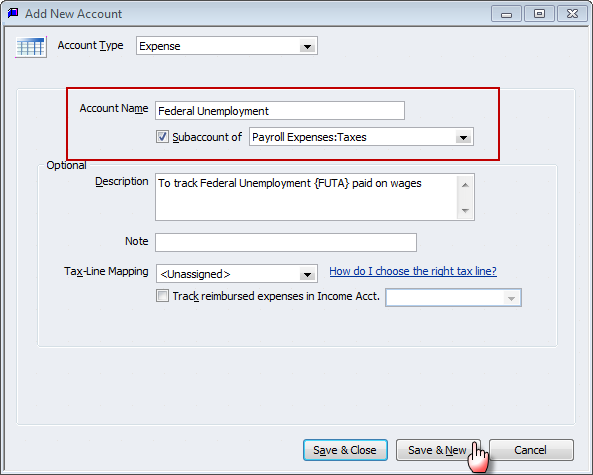 creating sub accounts for payroll taxes