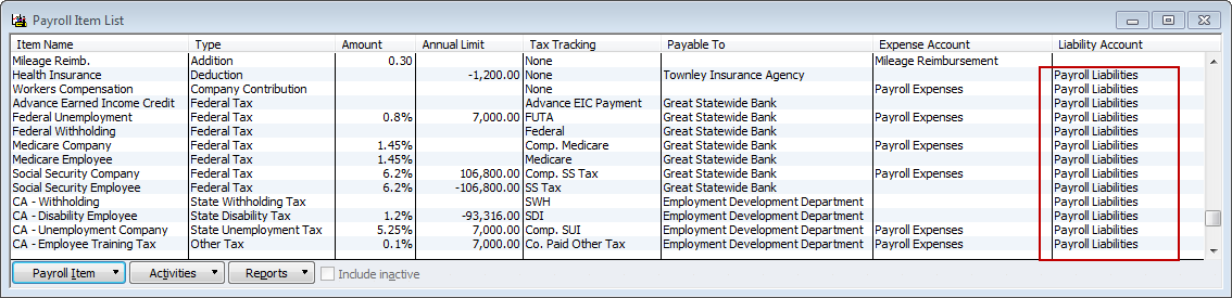 payroll item list-payroll liabilities