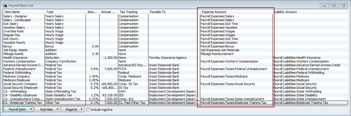 revised payroll item list
