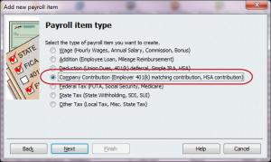 company contribution item type