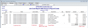 job cost report with hours and payroll costs