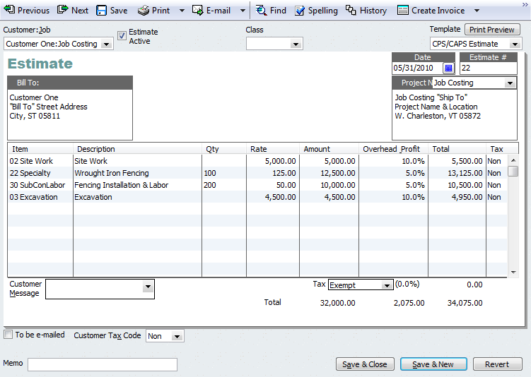 QuickBooks TipAdding Project Information to InvoicesEstimates – Estimate Invoice Template