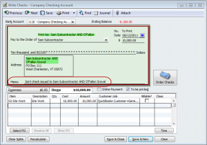 use the memo field of the check to hold joint check information