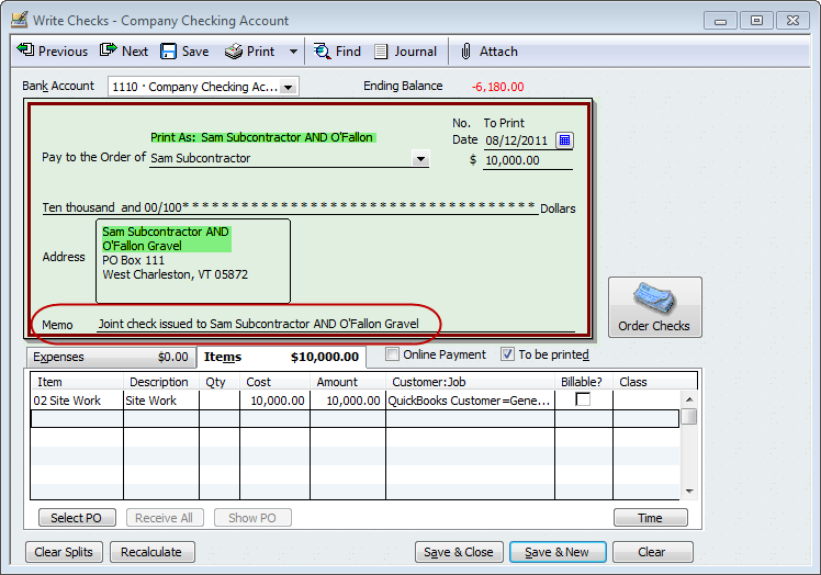 QuickBooks For Contractors Tip Issuing Joint Checks QuickBooks - Quickbooks invoice memo field