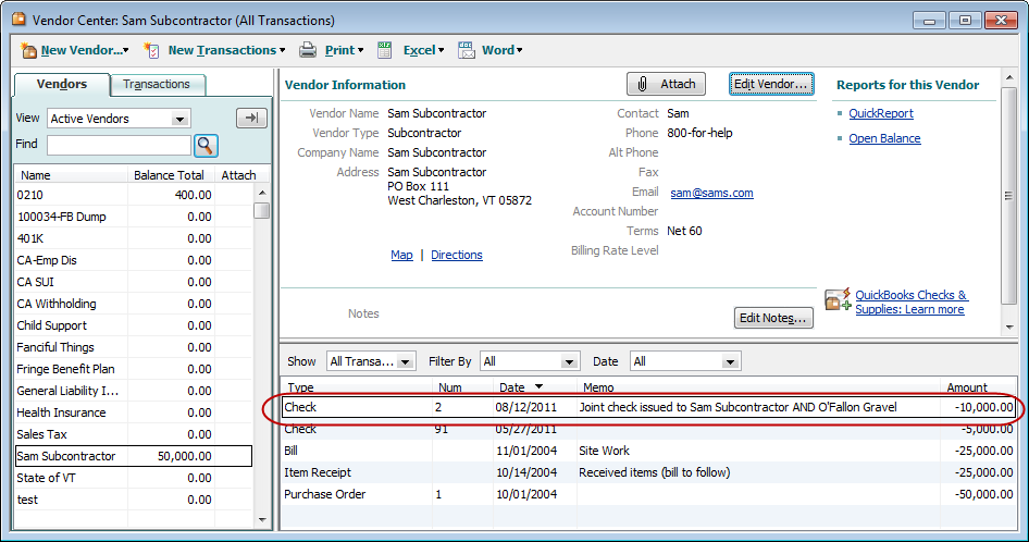 QuickBooks for Contractors Tip – Issuing Joint Checks
