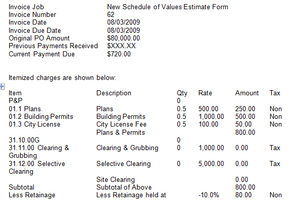 Revised invoice information