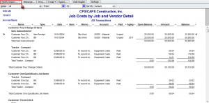 job costs by job and vendor detail